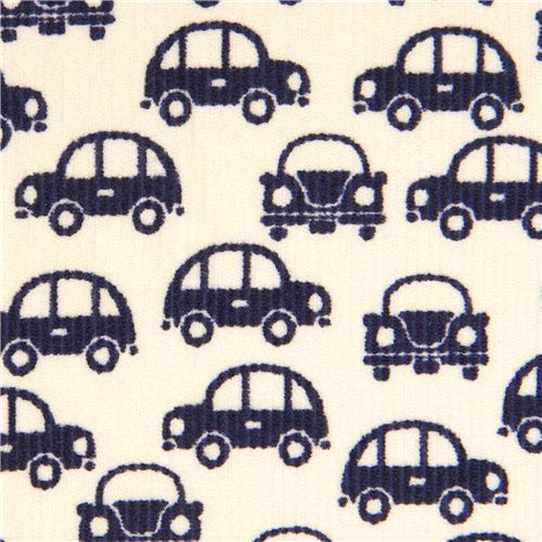 dark blue cars fabric for boys by Kokka Japan