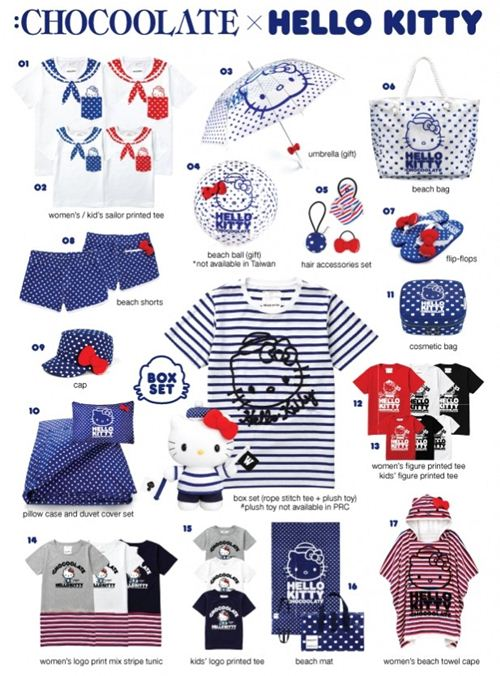 All the items of the Chocoolate  x Hello Kitty collection