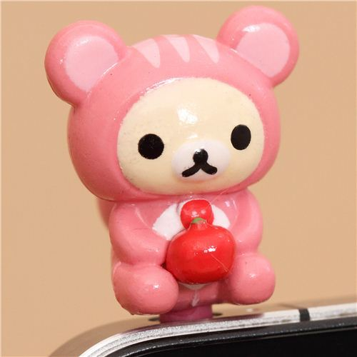 Rilakkuma white bear squirrel mobile phone plug earphone