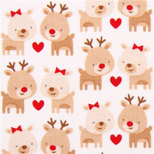 white Riley Blake reindeer Xmas fabric Home for the Holidays