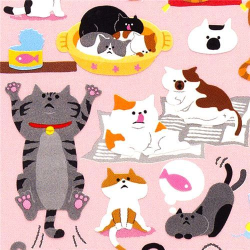 cute small stickers with many cats Japan kawaii