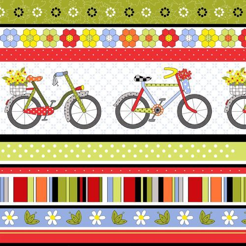 colorful bicycle flower dot stripe pattern fabric by Henry Glass