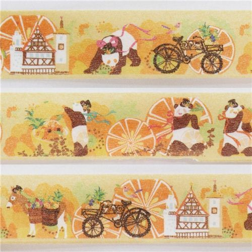 orange panda fruit house Masking Tape deco tape