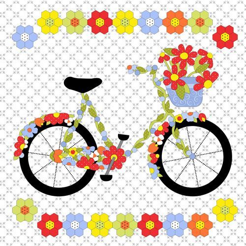 white big bicycle colorful flower double border fabric by Henry Glass