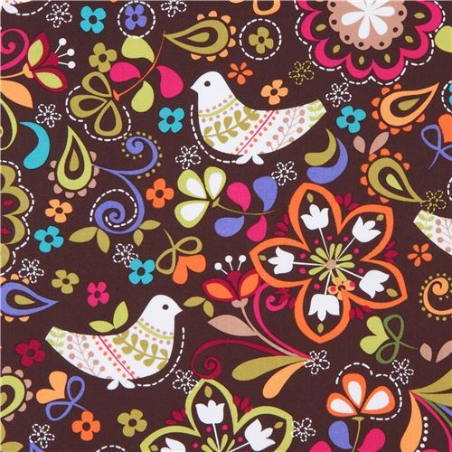 Michael Miller bird fabric Espresso Birds of Norway