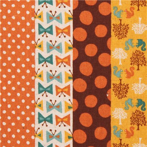 orange-brown forest animal dot stripe Canvas fabric from Japan