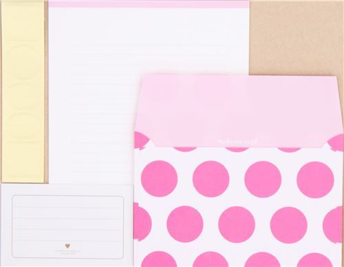 cute pink circle dot Letter Envelope Set