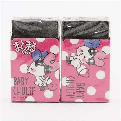pink white dot Baby Chulip mouse black scented eraser from Japan