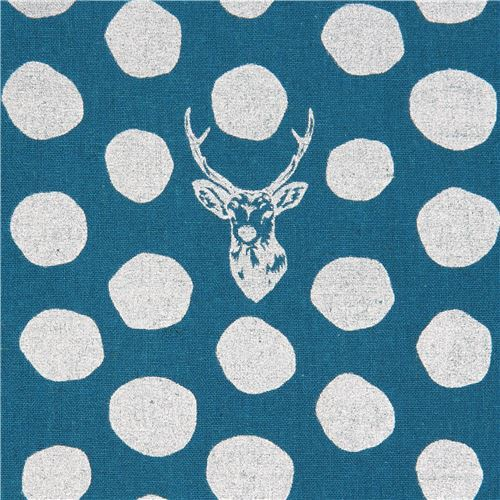 teal echino canvas fabric stag with silver metallic dots Sambar