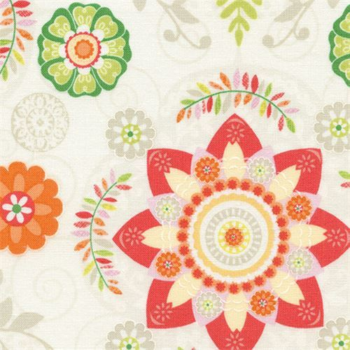 cream fabric with coral orange flower green leaf by Timeless Treasures