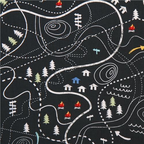 dark grey-green cute house tree camp fabric Timeless Treasures