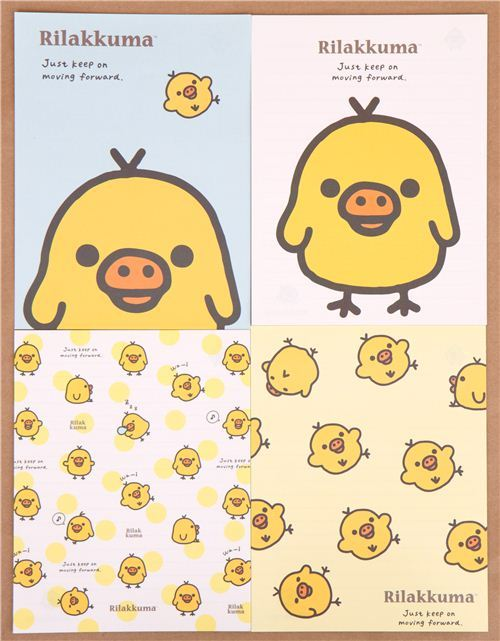 Rilakkuma yellow chick polka dots letter paper set Japan