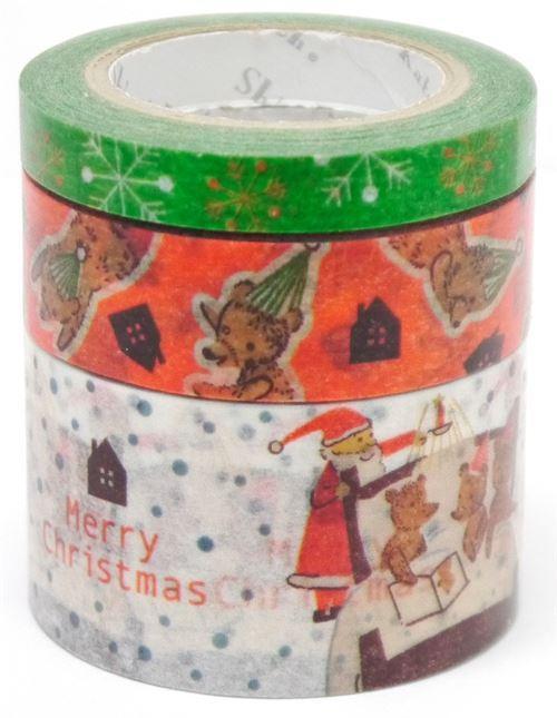 Christmas bear Santa dot Washi Masking Tape deco tape set 3pcs Shinzi Katoh