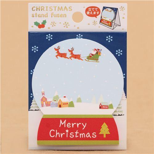 die-cut snow globe Christmas Note Pad from Japan