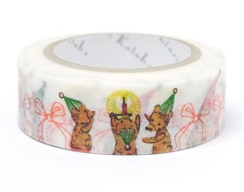 white with Santa bear bow Washi Masking Tape deco tape Shinzi Katoh