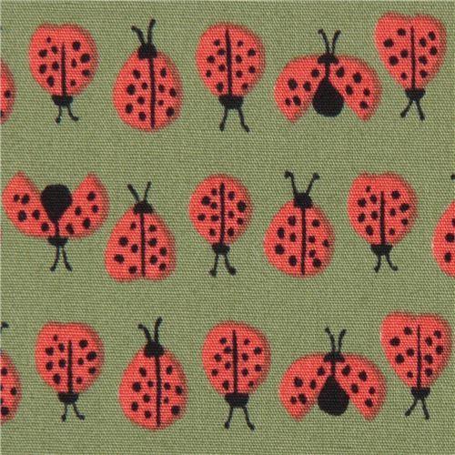 green ladybug insect poplin organic fabric monaluna USA