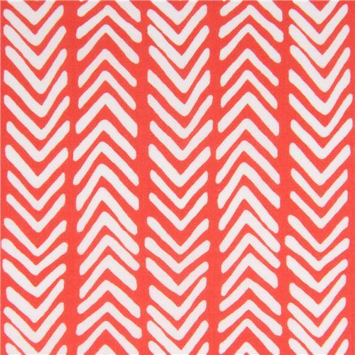 red with white V shape Lawn organic fabric monaluna USA