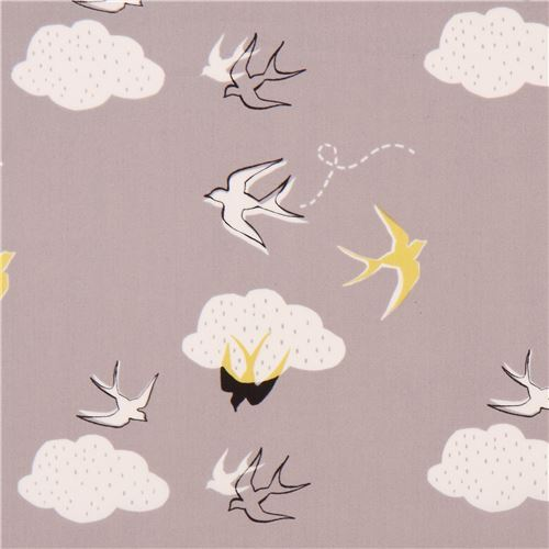 taupe with white cloud bird animal organic fabric monaluna USA