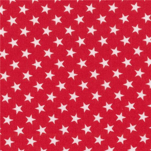 red Robert Kaufman mini white star fabric Sevenberry Classiques