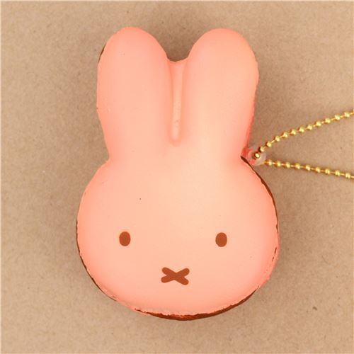 cute peach dark brown filling Miffy bunny rabbit macaron squishy for  backpack