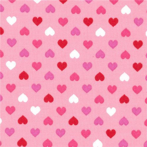 pink Robert Kaufman mini red hot pink heart fabric Sevenberry Petite Classiques