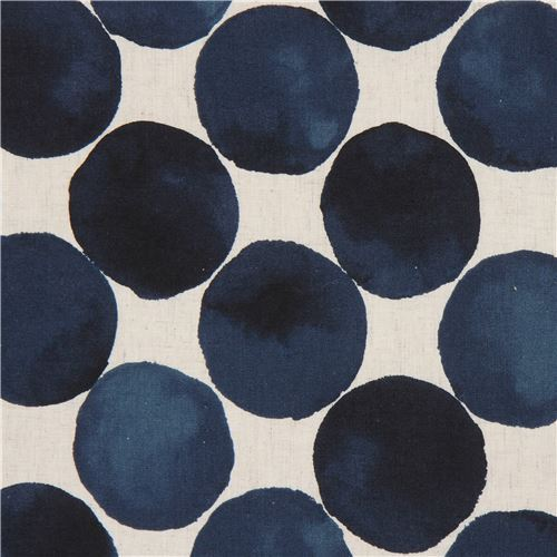 circle navy blue natural color Cotton Linen Kokka fabric