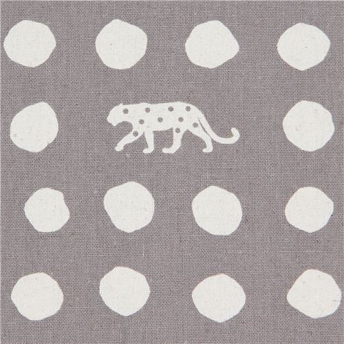 grey canvas fabric by echino with polka dot