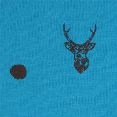 blue echino embroidered canvas fabric with deer stag animal circle dot