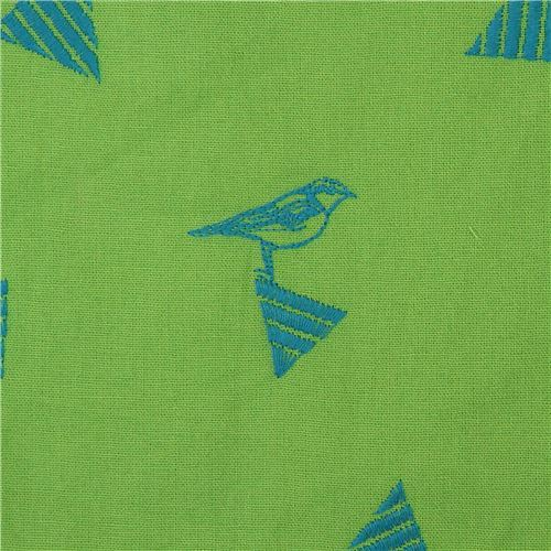 lime green echino embroidered canvas fabric with triangle bird animal