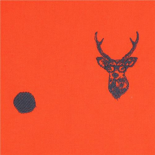 orange echino embroidered canvas fabric with deer stag animal circle dot