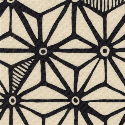 light taupe Robert Kaufman fabric black star shape Psychedelia