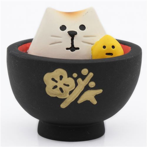 black bowl with food and cat figurine from Japan