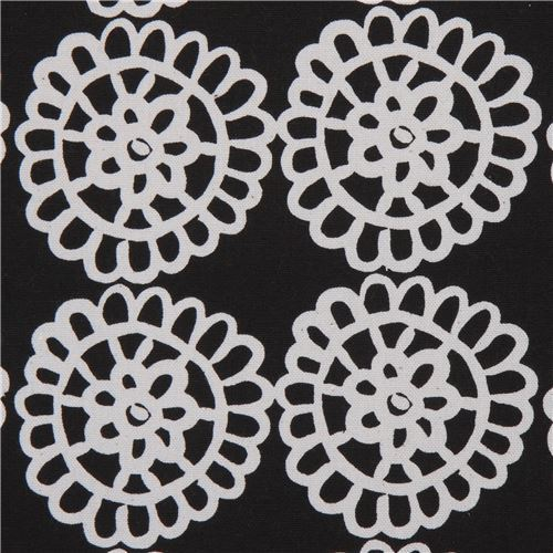flower canvas fabric in black by Kokka