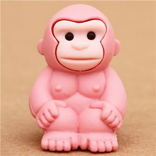 pink gorilla monkey eraser by Iwako from Japan