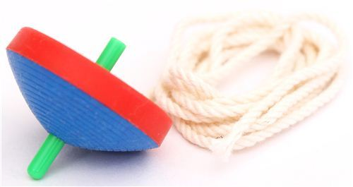 red-blue spinning top classic game eraser by Iwako from Japan