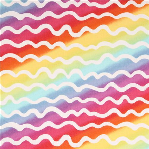 multicolor squiggle oxford fabric by Kokka