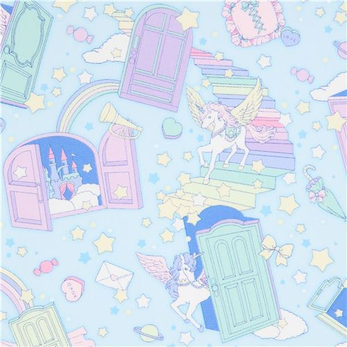 unicorn and star Cosmo oxford fabric in light blue