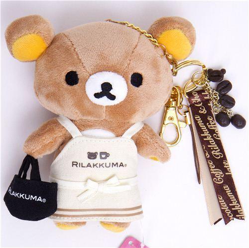 Rilakkuma bear plush charm with apron coffee