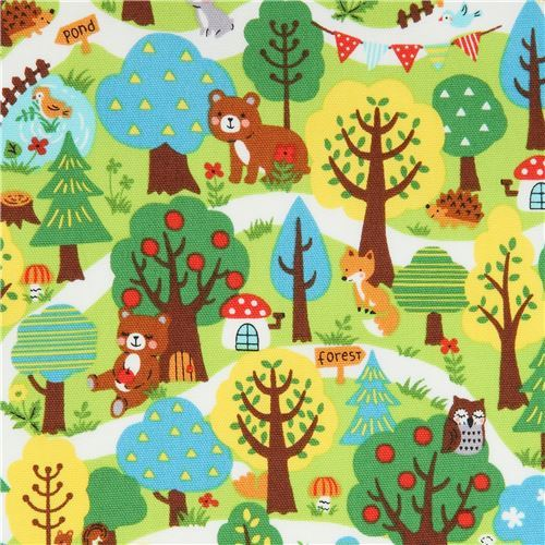 colorful forest animal Kokka oxford fabric