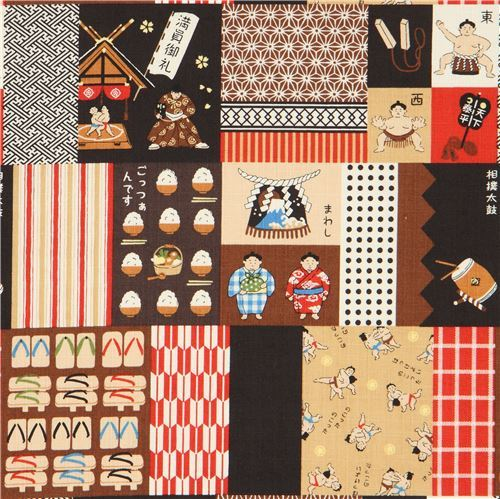 pattern food structured square rectangle Kokka Dobby fabric