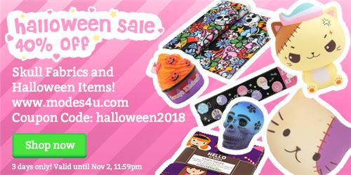 Get awesome Halloween goodies and skull fabrics 40% off!