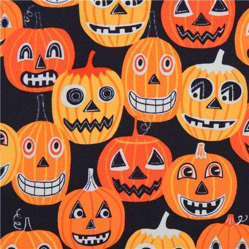 black pumpkin Halloween fabric Alexander Henry Jack O'Lantern JR