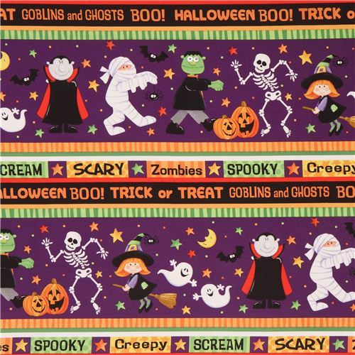 colorful stripe vampire witch skeleton fabric Happy Haunting