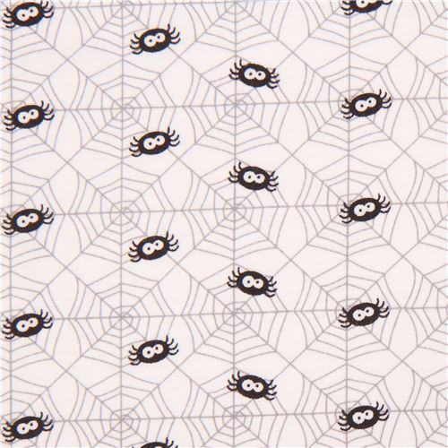 white cute spider web knit fabric Riley Blake Ghouls and Goodies