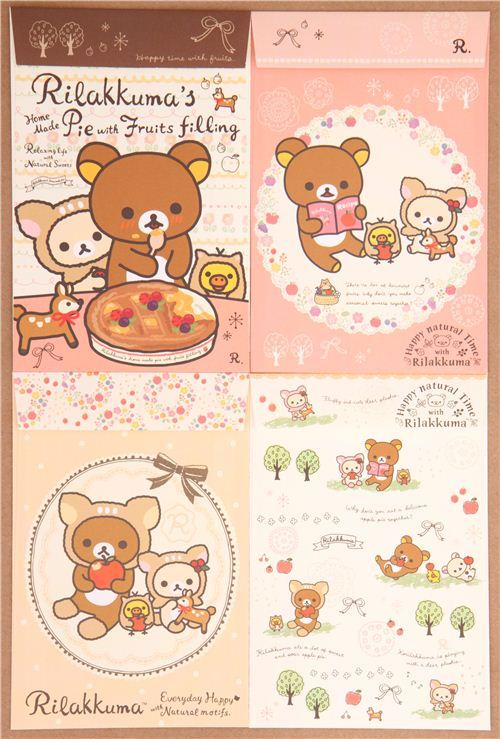 deer Rilakkuma forest pie apple letter paper set Japan