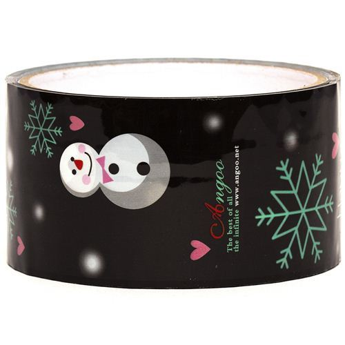 black snowman Scotch Tape christmas snowflakes