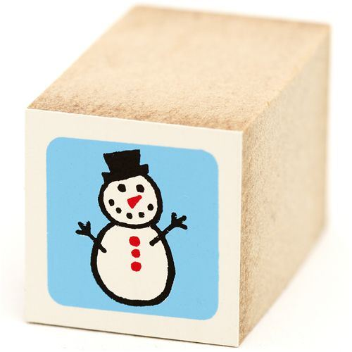 cute small snowman wooden stamp Christmas