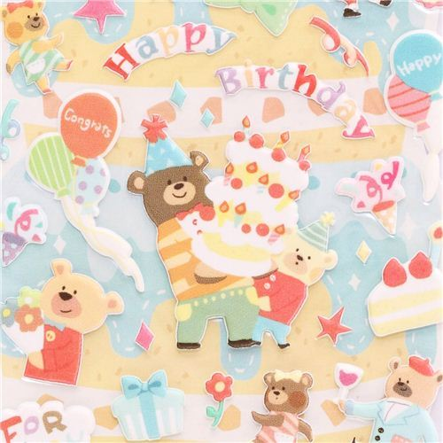 Happy Birthday 3D birthday stickers with bear from Japan cake balloons