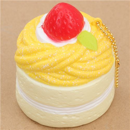 Premium Cafe de N light cream color yellow Mont Blanc cake squishy charm kawaii