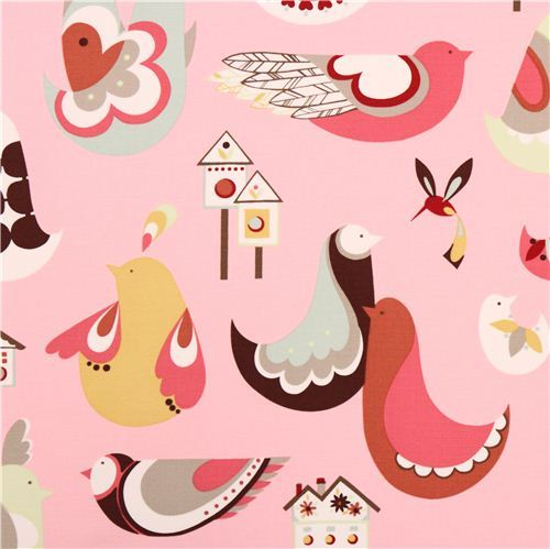 pink heavy oxford bird fabric by Alexander Henry Home Decor